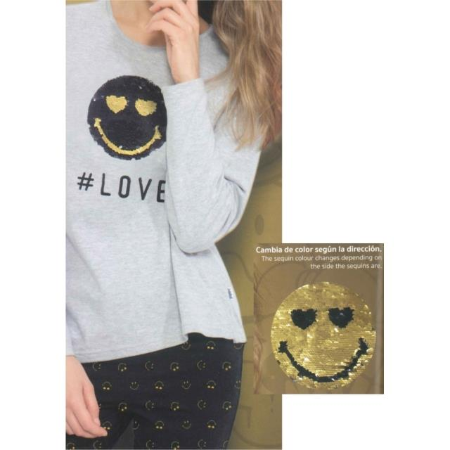 Pijama Smiley Love -Ref.50820 Col.gris jaspe-